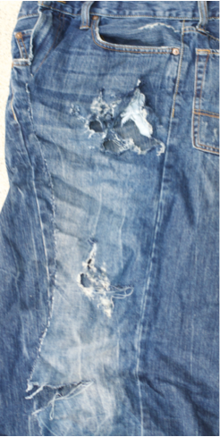 Text Box: Jeans shredded in my son's accident